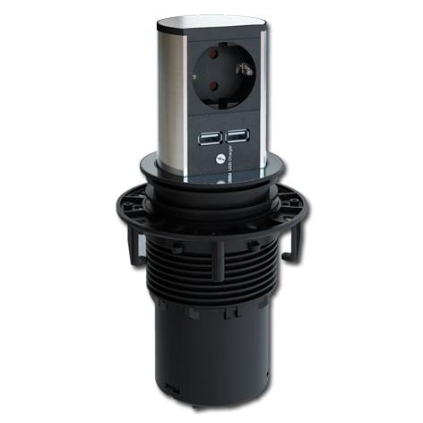 Elevator verzinkbare contactdoos 1-voudig met randaarde+2x usb