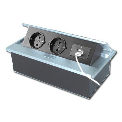 Verzinkbare contactdoos 2-voudig met randaarde+2x usb