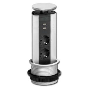 Verzinkbare contactdoos EVOline 2-v met randaarde en 2-v usb-lader
