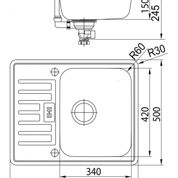 Marilyn 100 Compact, Inbouw-spoelunit., roestvrij staal