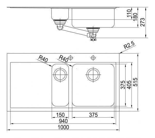 Speedlineィ 150, Inbouw-spoelunit., roestvrij staal, bekken re.