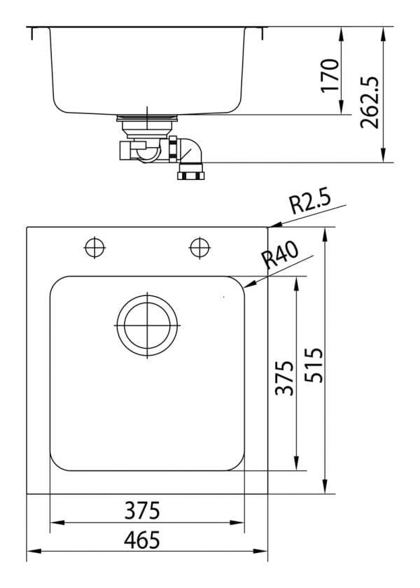Speedlineィ light, Inbouw-spoelunit., roestvrij staal