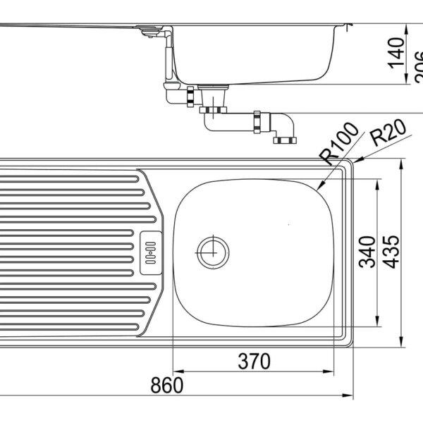Standaard S3, Inbouw-spoelunit., roestvrij staal