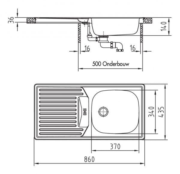Standaard S4, Inbouw-spoelunit., roestvrij staal