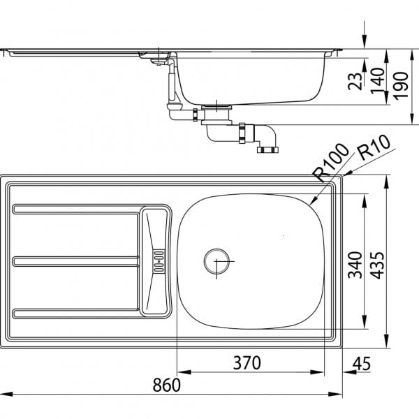 Standaard S9E, Inbouw-spoelunit., roestvrij staal