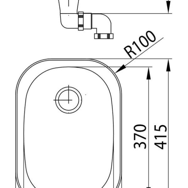 Standaard S1, Inbouw-spoelunit., roestvrij staal