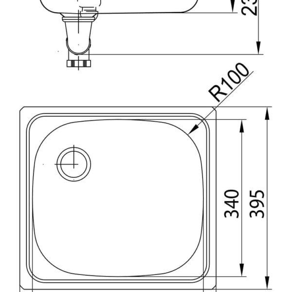 Standaard S2, Inbouw-spoelunit., roestvrij staal