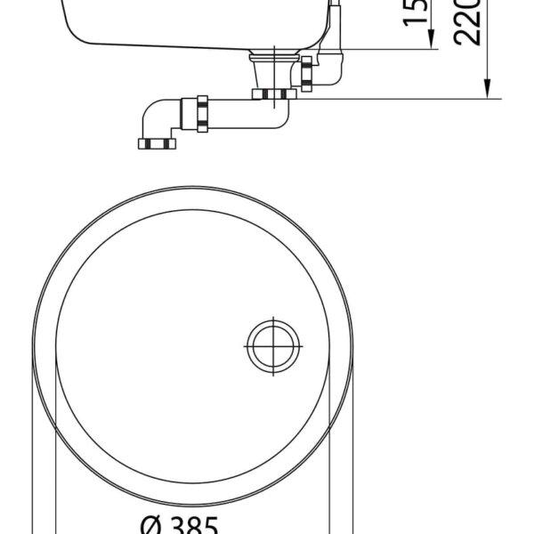 Standaard S8, Inbouw-spoelunit., roestvrij staal