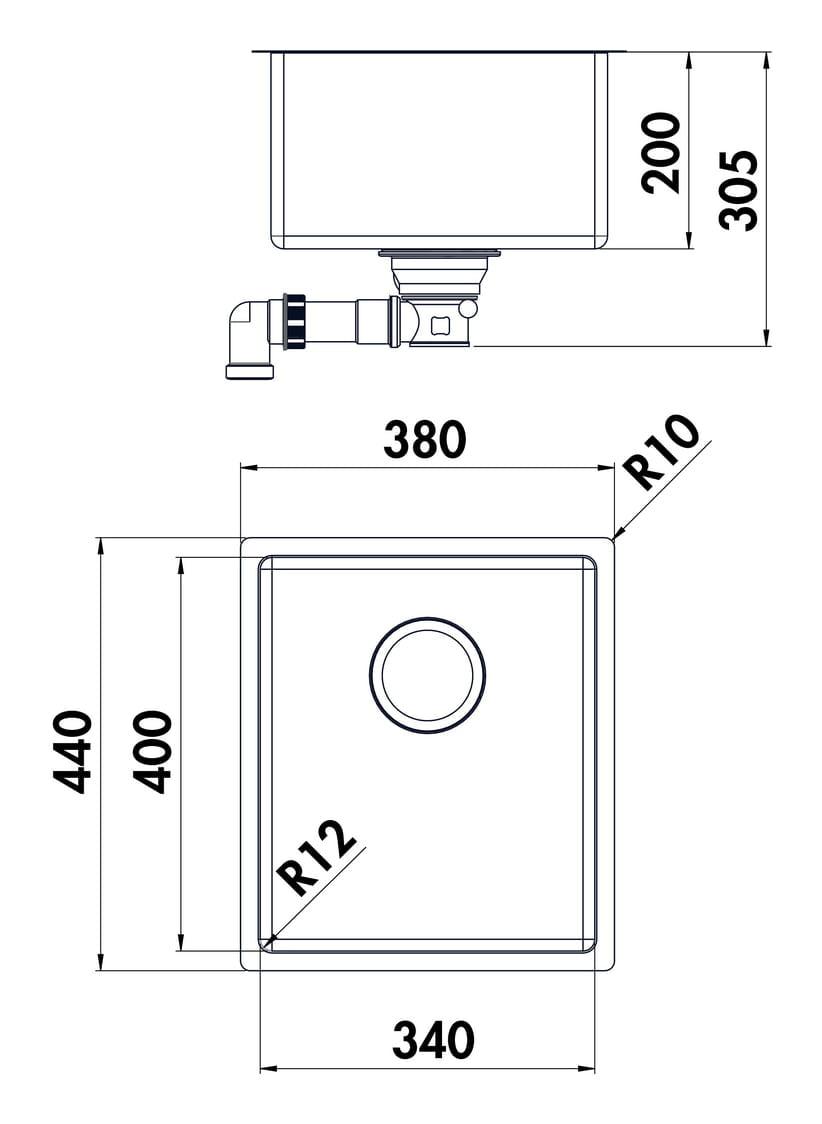 Corno U2 onderbouwbekken, Onderbouwbekken., roestvrij staal