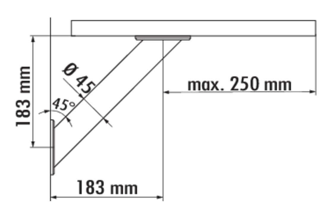 Capitello 3, Console, chroom gepolijst, H 183 mm, buis 45 mm