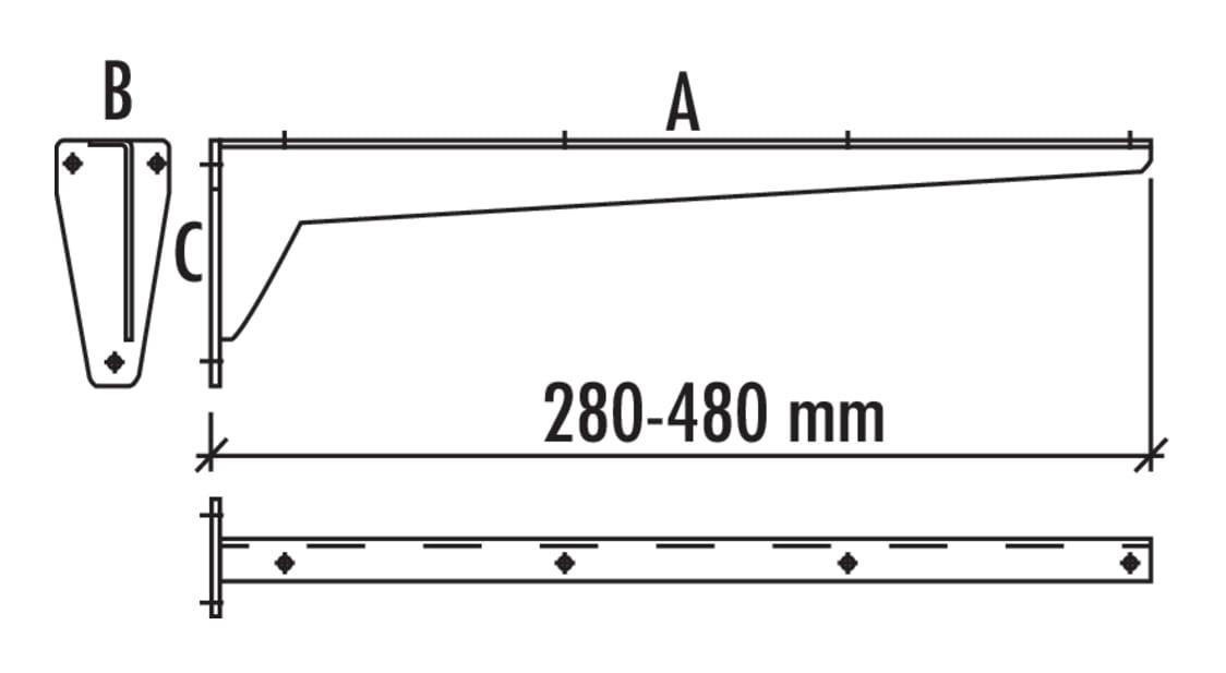 Console star, Console., A 380, B 65, C 130 mm