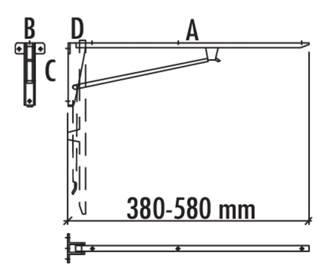 Klapconsole, Console., A 480, B 82, C 152, D 50 mm