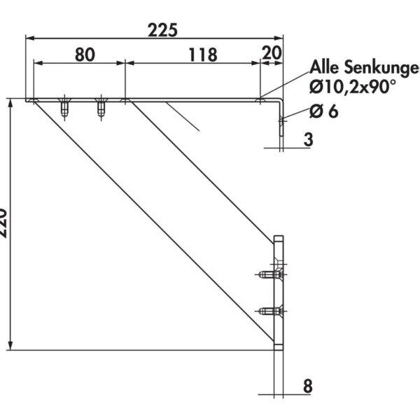 Barsteun Korfu 4 roestvrij staal Hoogte 220 mm