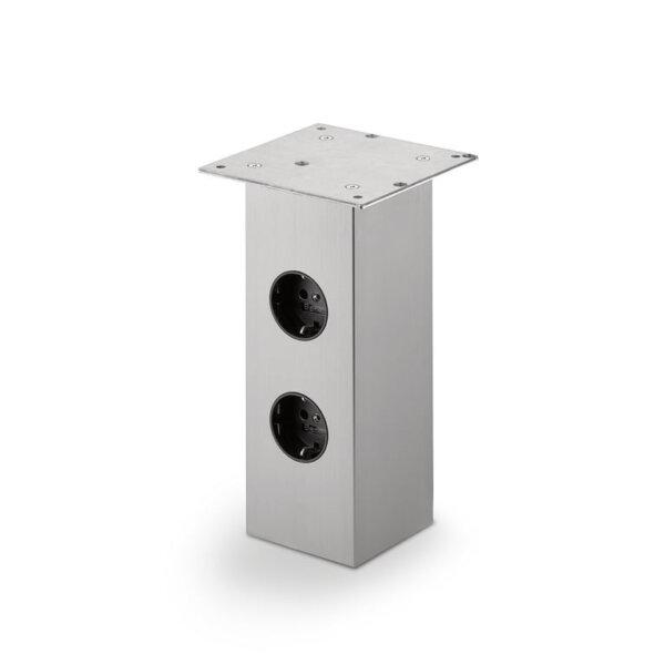 Rhodos 2, Console, roestvrij staalkleurig, H 230 mm, 2 stopcontacten