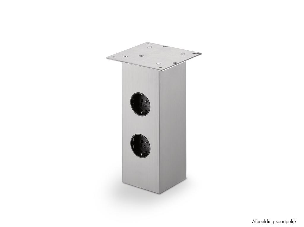 Rhodos 2, Console, roestvrij staalkleurig, H 170 mm, 1 stopcontact