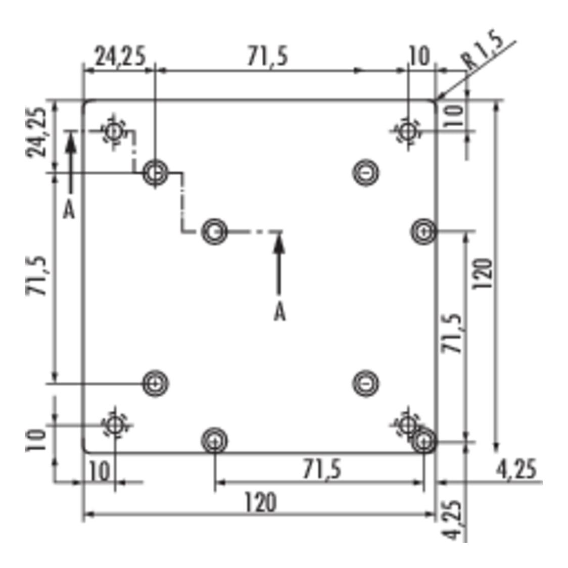 Rhodos 2, Console., roestvrij staalkleurig, H 170 mm, 1 stopcontact