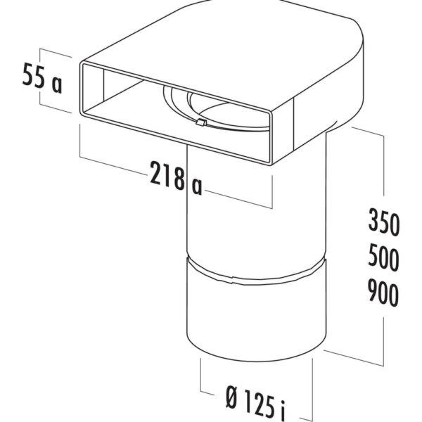 T-UR 125 Omkeerstuk 90。 met ronde buis, Verbindingselement., wit, L 500 mm