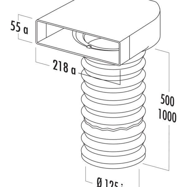 T-URX 125 Omkeerstuk 90。 met flexibele slang, Verbindingselement., wit, L 500 mm