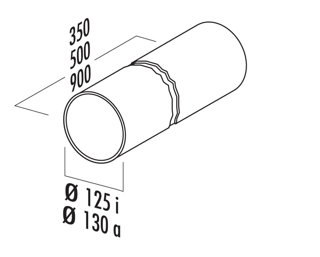 Ronde buis 125, Luchtafvoerbuis., wit, L 500 mm