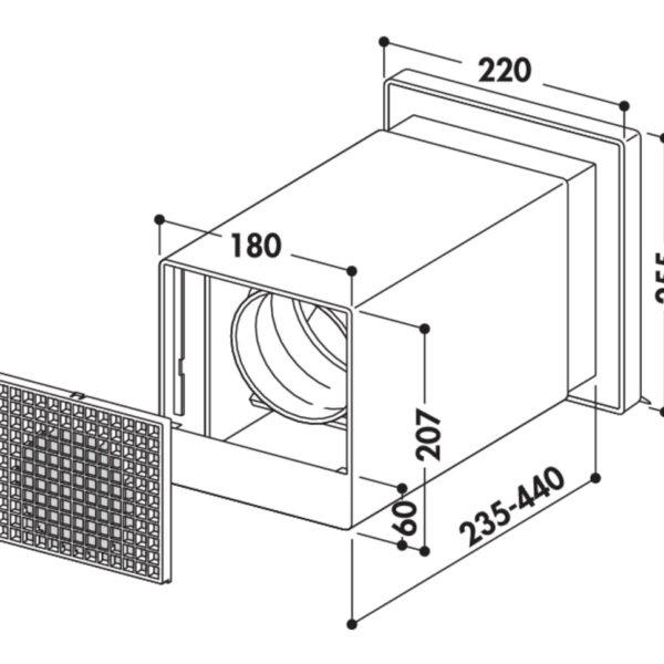 V-Klima A/Z 125 luchtafvoer en luchttoevoer muurdoorvoerunit 2, Muurdoorvoerunit., wit