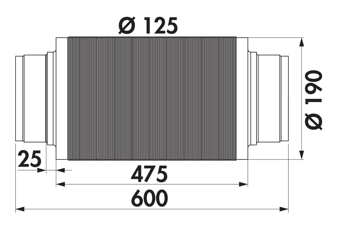 Geluiddemper 125, Luchtafvoertoebehoren., aluminium