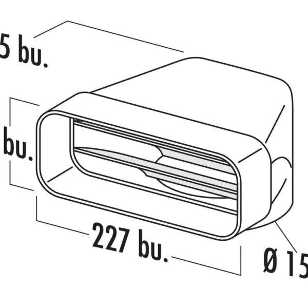 F-UR 150 Omkeerstuk 90。, Verbindingselement., wit
