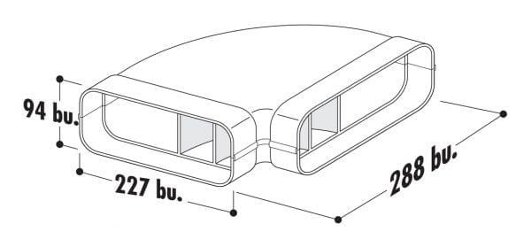 F-RBH 150 Buisbocht horizontaal 90。, Verbindingselement., wit