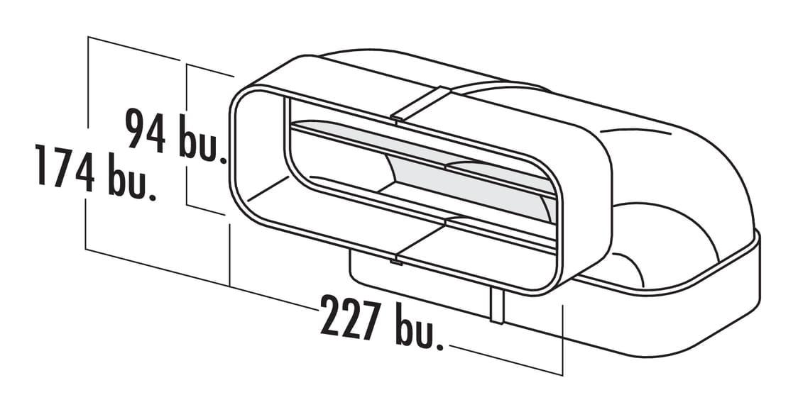 F-RBV 150 Buisbocht verticaal 90。, Verbindingselement., wit