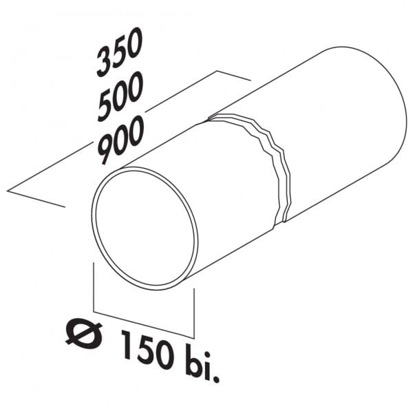 Ronde buis 150, Luchtafvoerbuis., wit, L 900 mm