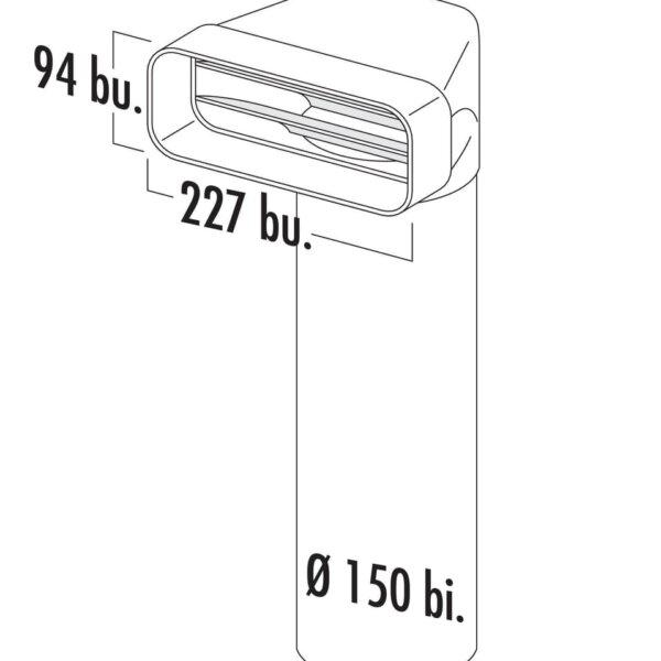 F-UR 150 Omkeerstuk 90。 met ronde buis, Verbindingselement., wit, L 500 mm