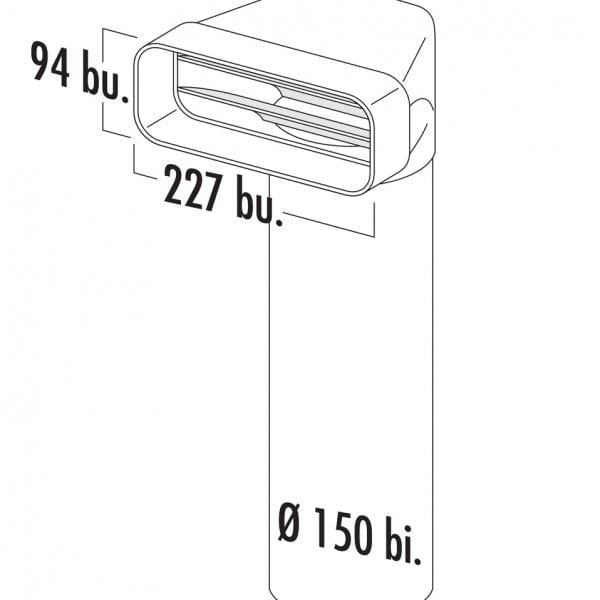 F-UR 150 Omkeerstuk 90。 met ronde buis, Verbindingselement., wit, L 900 mm