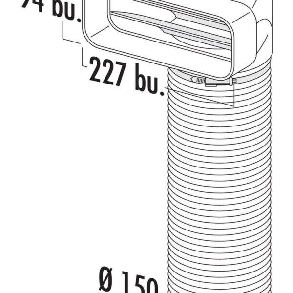 F-URX 150 Omkeerstuk 90。 met flexibele slang, Verbindingselement., wit, L 1000 mm