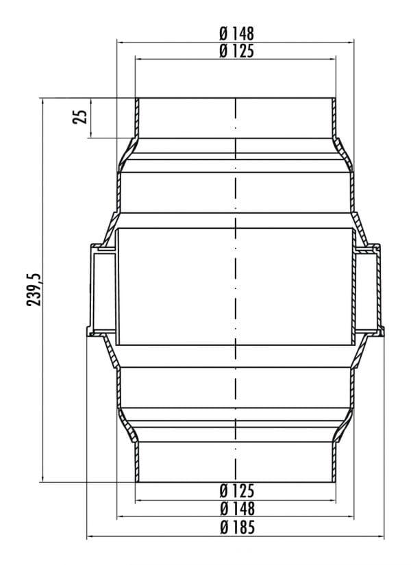 KDA flow 125/150 Afscheider voor condenswater , Verbindingselement., wit