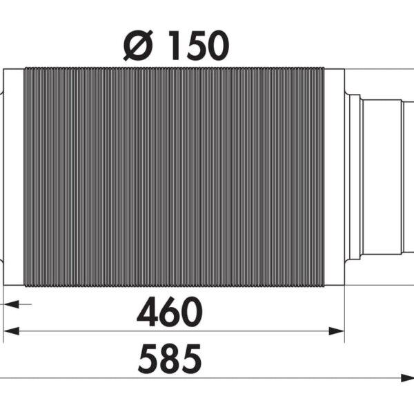 Geluiddemper, Luchtafvoertoebehoren., ッ 150 mm, L 460 mm