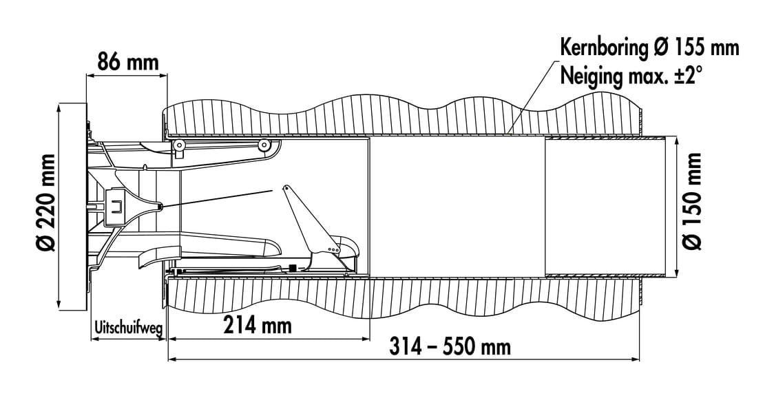 flow Star GTS 150 muurdoorvoerunit, Muurdoorvoerunit., wit/roestvrij staal