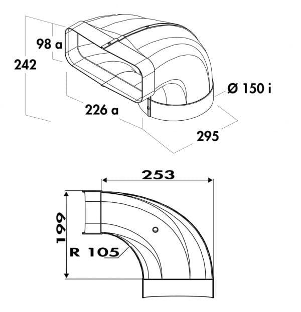 F-bion Omkeerstuk 90。, Verbindingselement., wit