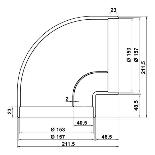 R-RBV flow 150 Buisbocht 90。, Verbindingselement., wit