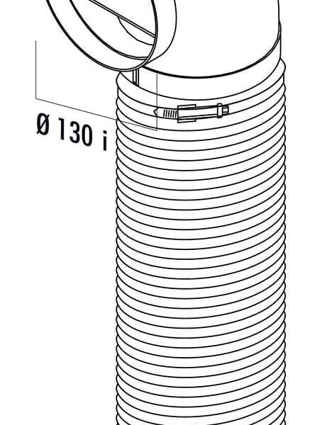 Compair Flow 125 R-URX Bochtstuk 90° met flexibele slang, L 1000 mm