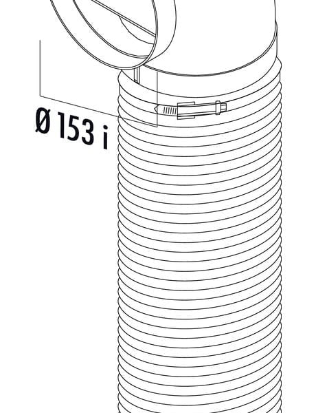 R-URX flow 150 Omkeerstuk 90。 met flexibele slang, Verbindingselement., wit, L 1000 mm