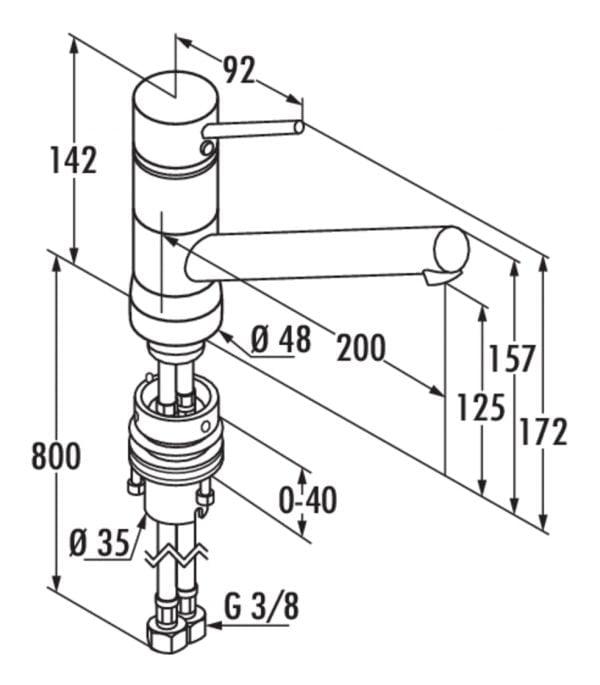 Scope 5 Raamarmatuur, E始greepsmengkraan., roestvrij staalfinish, hoogdruk