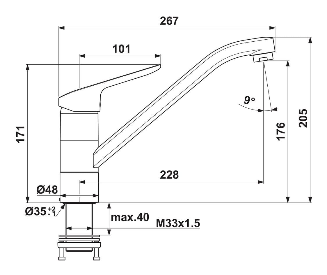 Ceraflex 5 Raamarmatuur, E始greepsmengkraan., chroom, hoogdruk