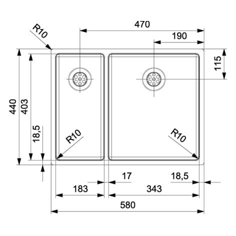 Spoelbak REGINOX New York 18x40+34x40