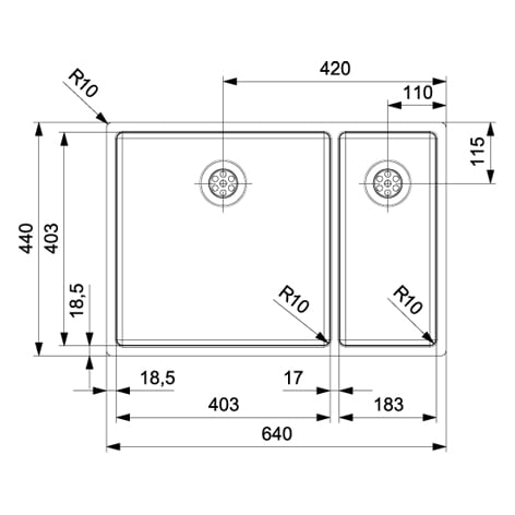 Spoelbak REGINOX New York 40x40+18x40