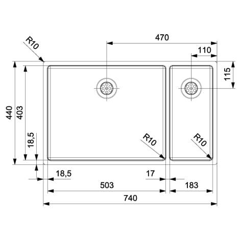 Spoelbak REGINOX New York 50x40+18x40