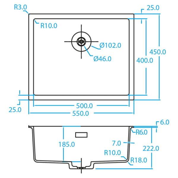 70-8213 CARESSI CAGRPP50BK-TU Black Line spoelbak detail