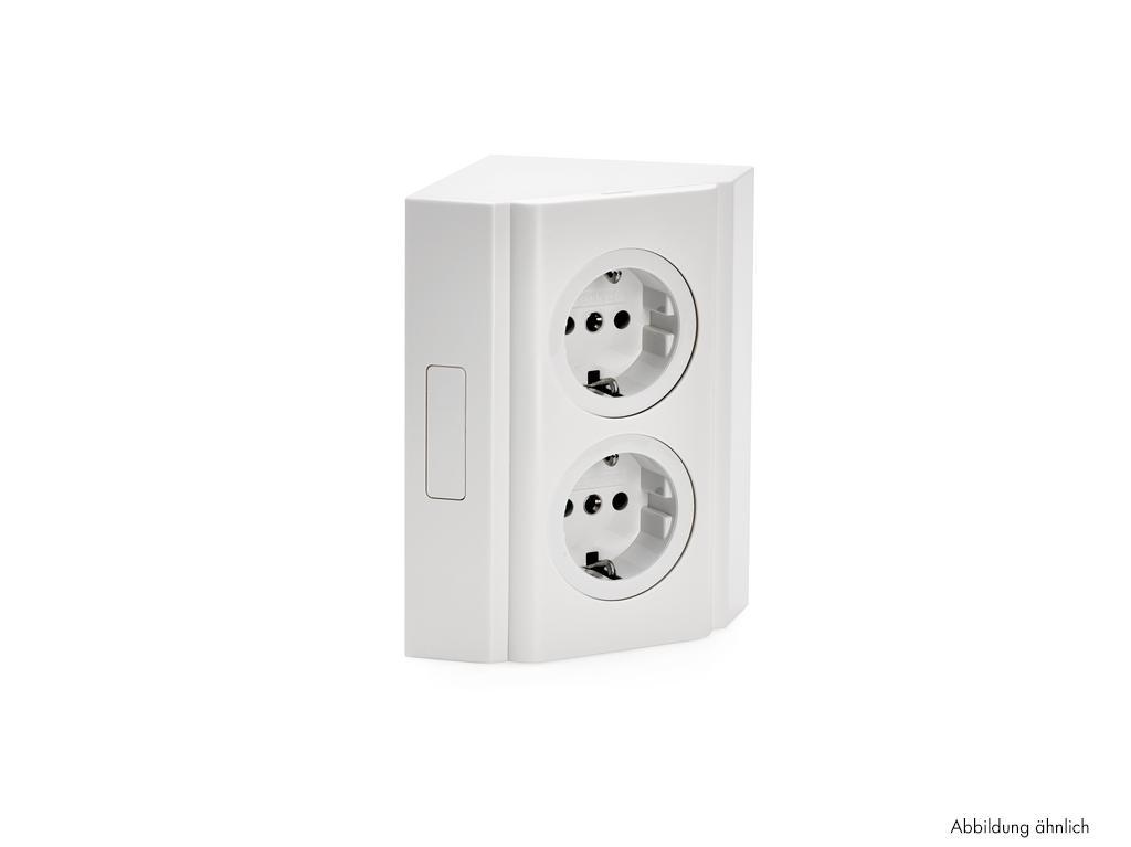 Hoekbox 3, Opbouwstopcontactelement, aluminium-metallic