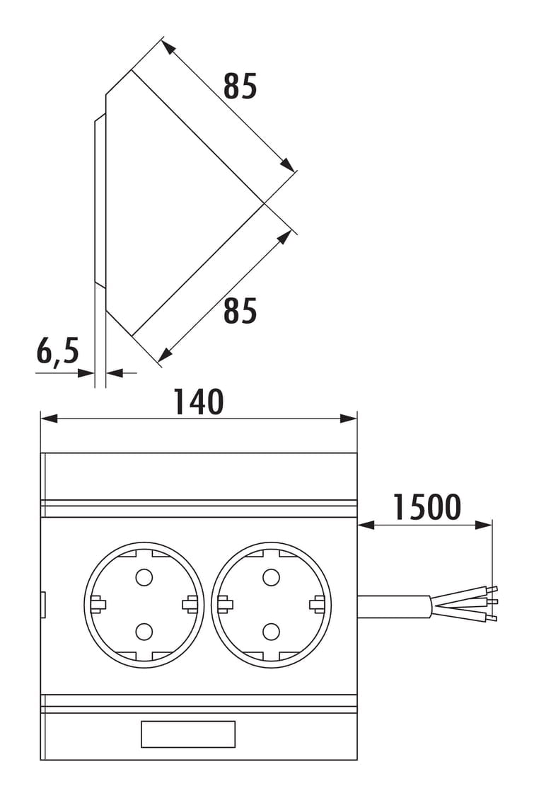 Hoekbox 3, Opbouwstopcontactelement., aluminium-metallic