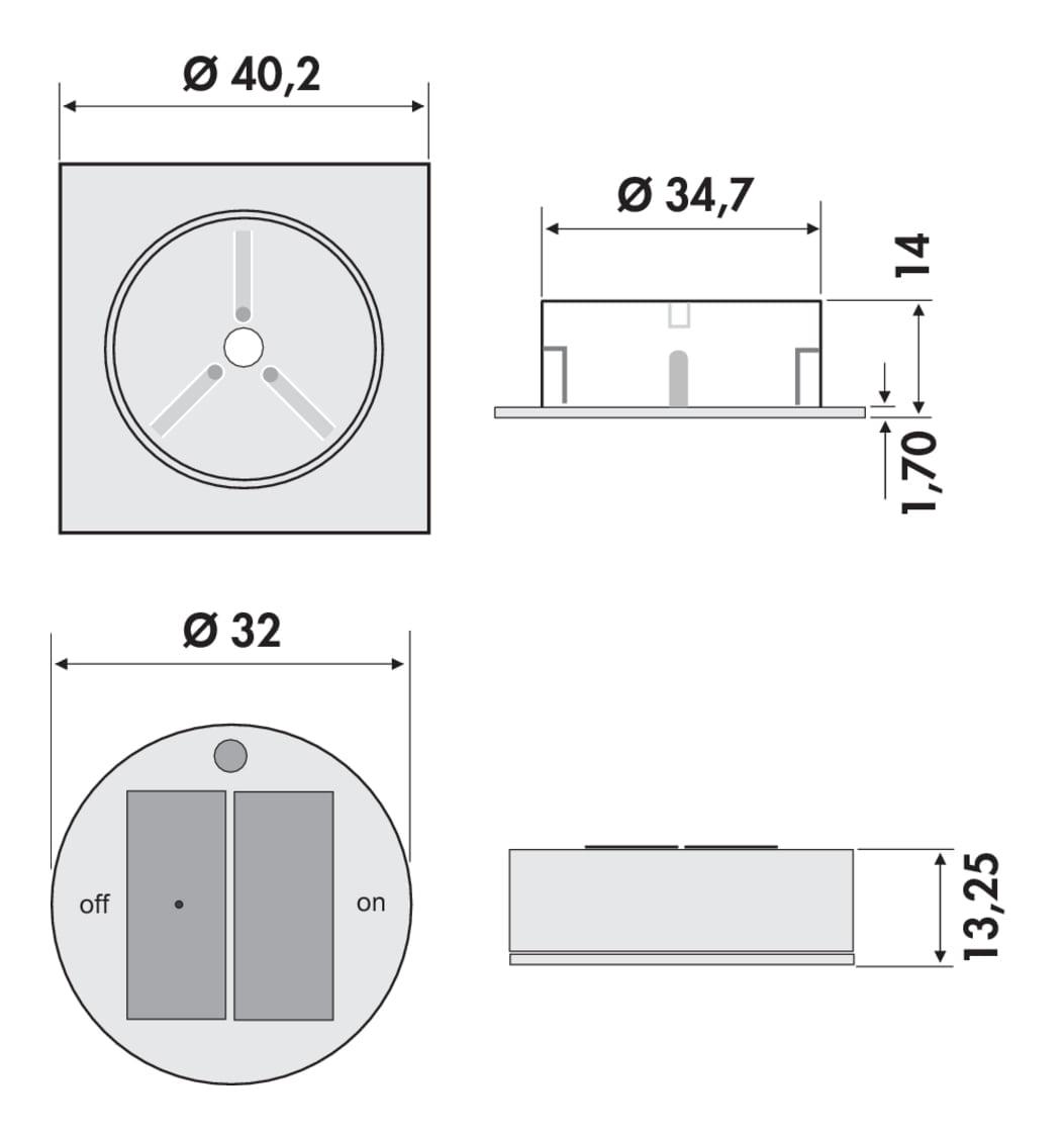 Afstandsbediening, Afstandsbediening., aluminiumkleurig