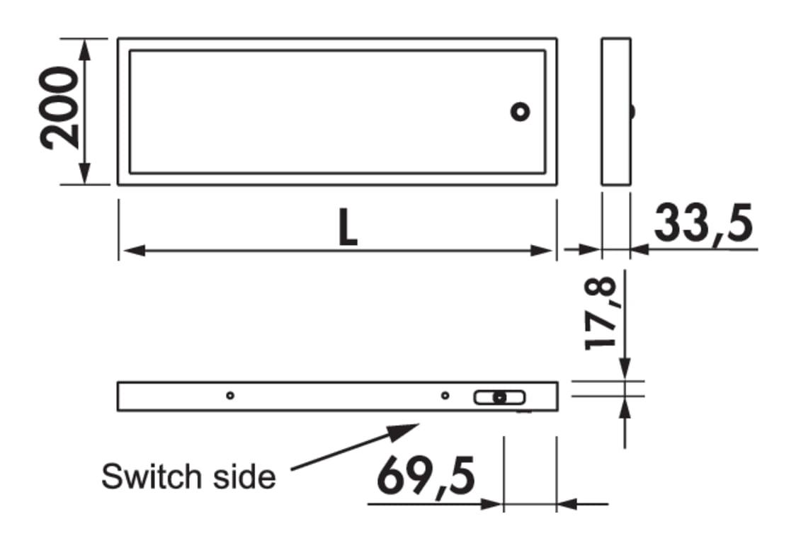 Lista 30, Verlichte legbord., L 600 mm, 14 W
