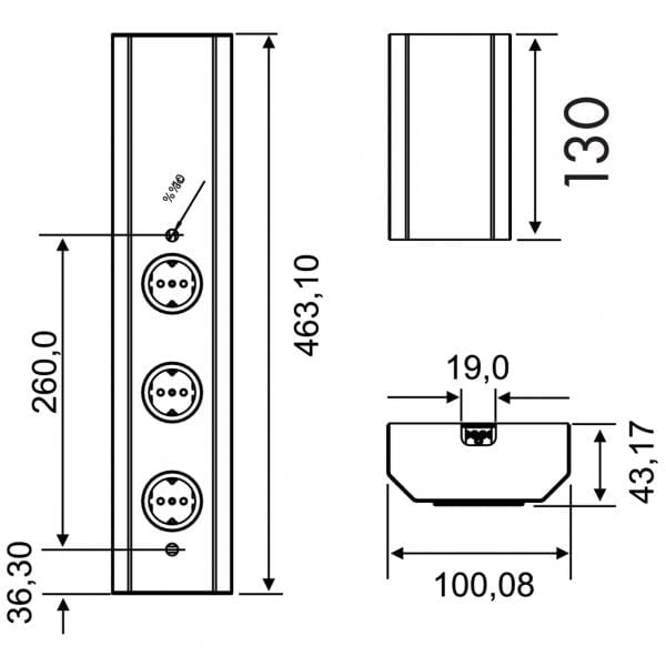 Mira Wand 1, Opbouwstopcontactelement., 3voudig, zonder schakelaar, met Franse stopcontacten